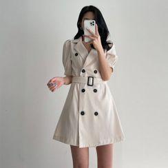 Seoul Fashion - Puff-Sleeve Trench Coatdress