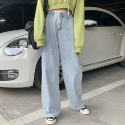 Hilda - Washed Wide Leg Jeans