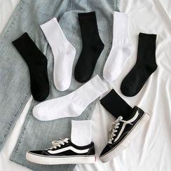 Mimiyu - 五对套装: 纯色袜子