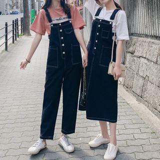 Jinyo - Midi A-Line Denim Jumper Dress / Denim Dungaree