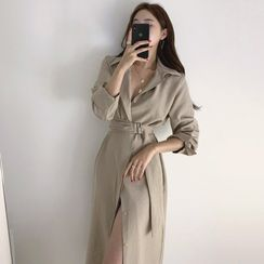 Coris - Long-Sleeve Belt-Waist Shirt Dress