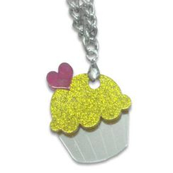 Sweet & Co. - Sweet Glitter Yellow Mirror Cupcake Silver Necklace