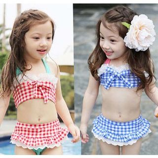 Salanghae - Kids Set: Plaid Bikini Top + Swim Skirt