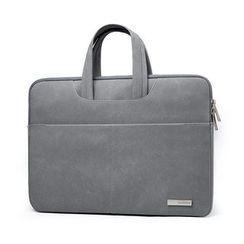 BAGGEST - Set: Faux Suede Laptop Briefcase + Zip Pouch