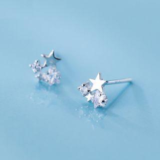 A'ROCH - 925 Sterling Silver Rhinestone Star Earrings