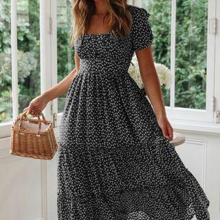 Sycamore Street - Floral Print Short-Sleeve Midi A-Line Dress