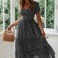 Sycamore Street - Floral Print Short-Sleeve Midi A-Line Dress