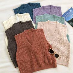 DIYI - Plain V-Neck Cable-Knit Vest