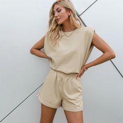Simplee - 套装:圆领纯色背心 + 运动短裤