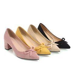 Cinnabelle - 粗跟蝴蝶结尖头鞋