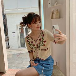 FROMBEGINNING - Flower Embroidery Knit Cardigan