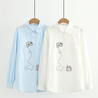 Cat Planet - Cat Embroidered Shirt