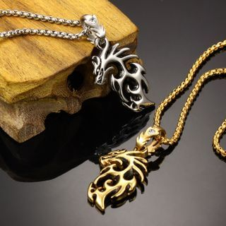 Tenri - Dragon Pendant Stainless Steel Necklace