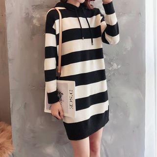 Oscuro - Striped Knit Hoodie Dress