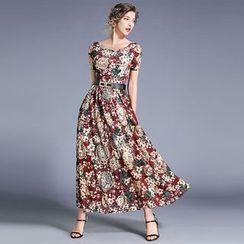 Justina - Flower Print Short-Sleeve Midi A-Line Dress