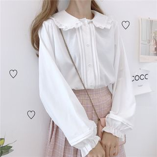 Honey Diary - Frill Trim Peter Pan Collar Blouse