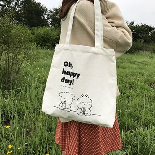 TangTangBags - Cartoon Print Canvas Tote Bag