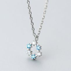 A'ROCH(エーロック) - 925 Sterling Silver Rhinestone Hoop Pendant Necklace