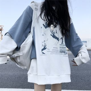 Maisee - Printed Mini Pullover Dress