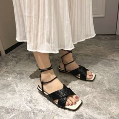 Crystella - Block Heel Lace Up Sandals