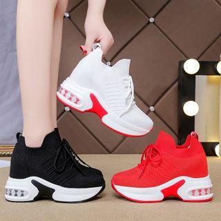 Chunki - Knit Mesh Platform Lace-Up Sneakers