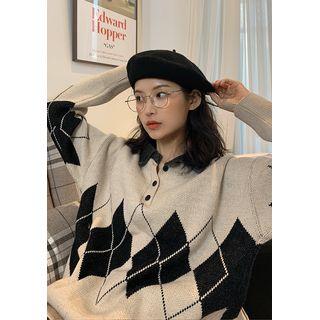 chuu - Argyle Knit Oversize Polo Shirt