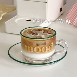 Olsin - Lettering Glass Drinking Cup / Saucer / Set