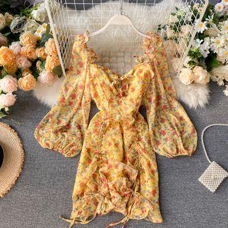Lucuna - Floral Puff-Sleeve A-Line Dress