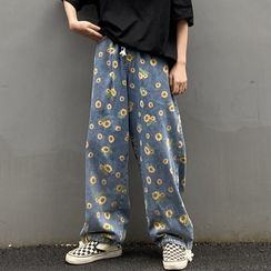 INStudio - Flower Print Wide-Leg Jeans