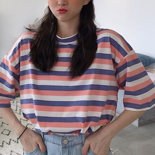 Juku Girls - Striped Elbow-Sleeve T-Shirt
