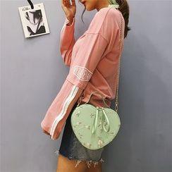 Auree - Embroidered Heart Shape Handbag With Shoulder Strap