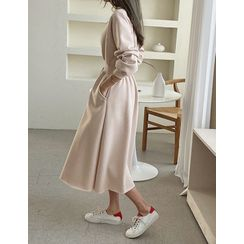 PPGIRL - Band-Waist Fleece-Lined Long Pullover Dress