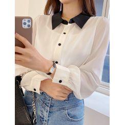 J-ANN - Contrast-Collar Puff-Sleeve Blouse