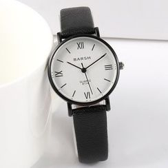 SIGAG - Roman Numeral Faux Leather Strap Watch