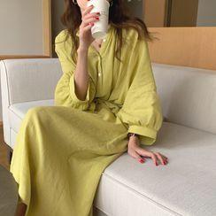 JStyle(ジェイスタイル) - Puff-Sleeve Plain Midi Dress