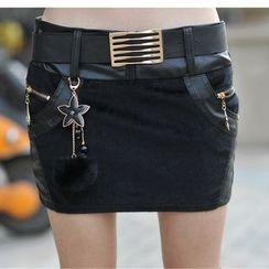 Sugar Hime - Faux Leather Panel Mini Skirt