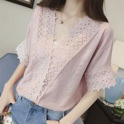 Lomond - V-Neck Crochet Lace Trim Chiffon Blouse