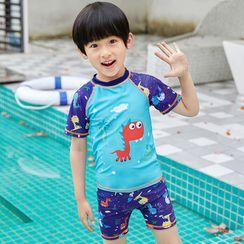 Aqua Wave - Kids Cartoon Print Short-Sleeve Rashguard  / Swim Shorts / Swim Cap / Set