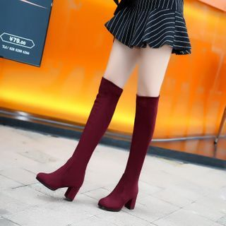Freesia - Block Heel Over the Knee Boots