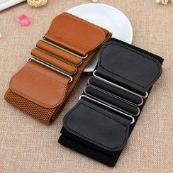 Luminarie(ルミナリエ) - Faux Leather Elastic Corset Belt