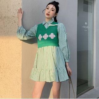Arabesquito - 长袖条纹迷你衬衫裙 / 花朵印花毛衣马甲