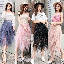Juuri - Sheer Overlay Frilled Midi Skirt