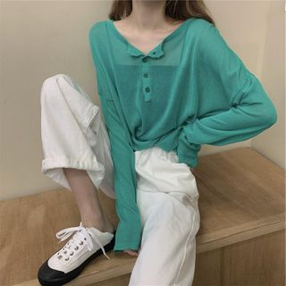Lavenus - Long-Sleeve See-Through Henley T-Shirt
