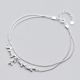 A'ROCH - 925 Sterling Silver Twig-Accent Layered Anklet