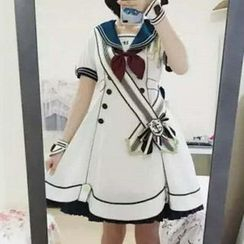 Tomoyo - Short-Sleeve Collared A-Line Dress