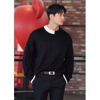 GERIO - Contrast-Trim Boxy Sweater