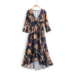 Amoura - Printed Elbow-Sleeve Midi A-Line Dress