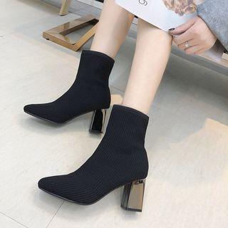 FiE FiE - Block-Heel Knit Short Boots