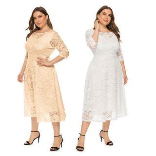 Chelsie Chic - Plus Size Lace A-Line Dress