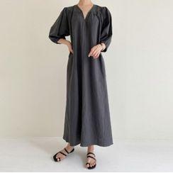 Shumanee - Puff Sleeve V-Neck Plain Cotton-Linen Maxi Shift Dress